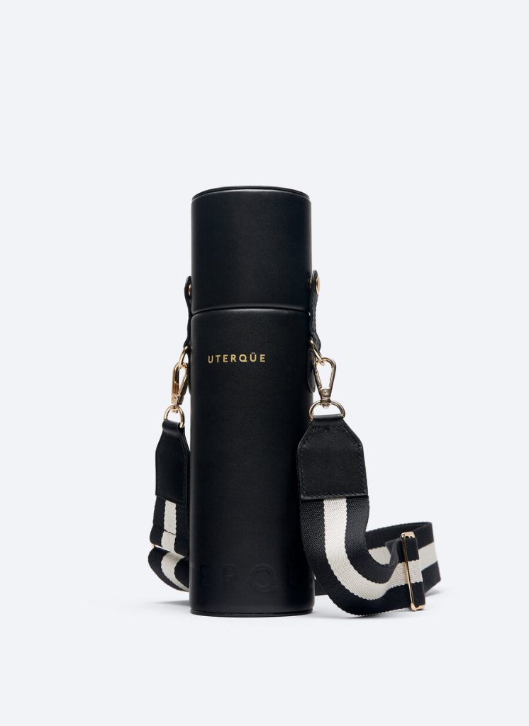 BLACK THERMAL BOTTLE WITH LEATHER BAG AND ADJUSTABLE STRAP from UTERQUE