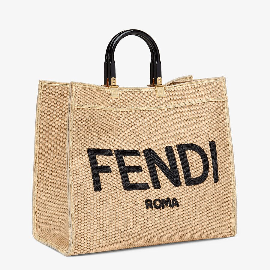 WOVEN SHOPPER BAG MADE FROM NATURAL COLOURED STRAW WITH FENDI ROMA from FENDI