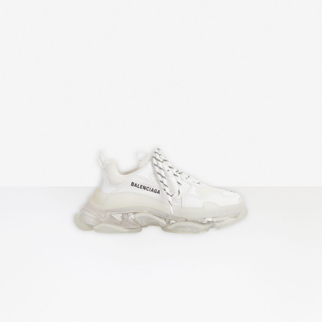 TRIPLE S CLEAR SOLE IN WHITE DOUBLE FOAM AND MESH from BALENCIAGA