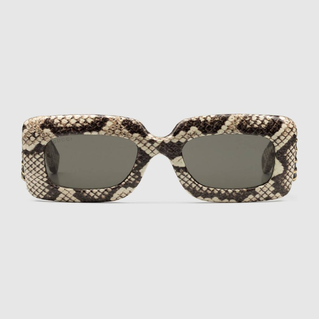 RECTANGULAR FRAME AYERS SUNGLASSES WITN SNAKE PATTERN from GUCCI