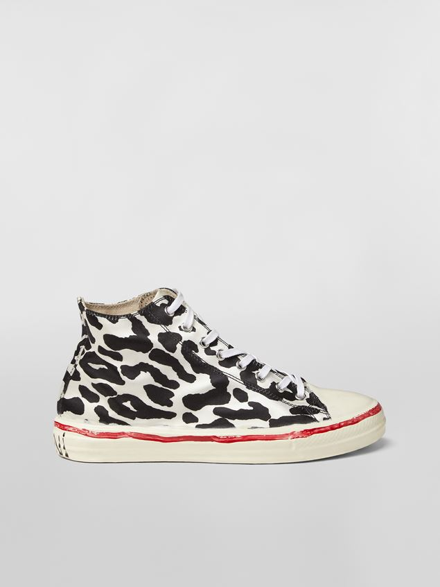 GOOEY HIGH-TOP SNEAKERS IN SATIN WITH LEOPARD DESIGN AND MARNI GRAFFITI from MARNI