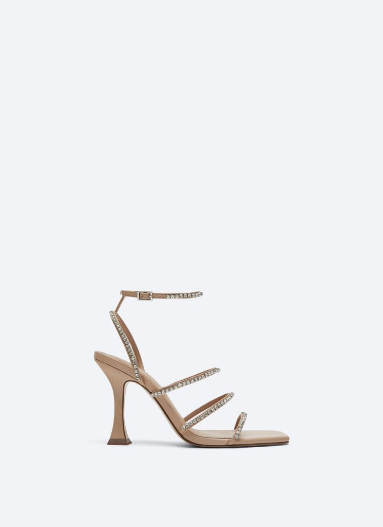 NUDE LEATHER SANDAL WITH STRASS from UTERQUE