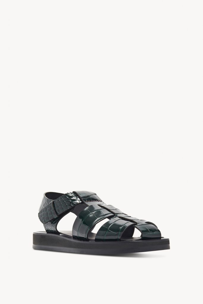 GREEN SANDAL IN ALLIGATOR from THE ROW