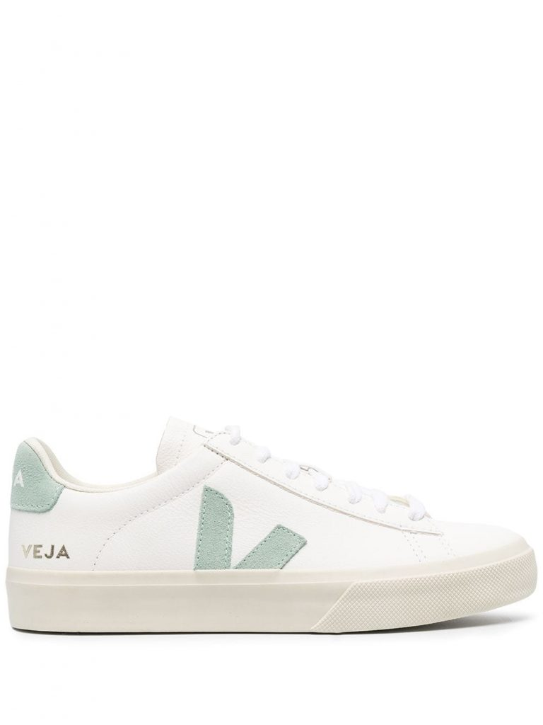 WHITE AND GREEN LOW~TOP SNEAKERS from VEJA