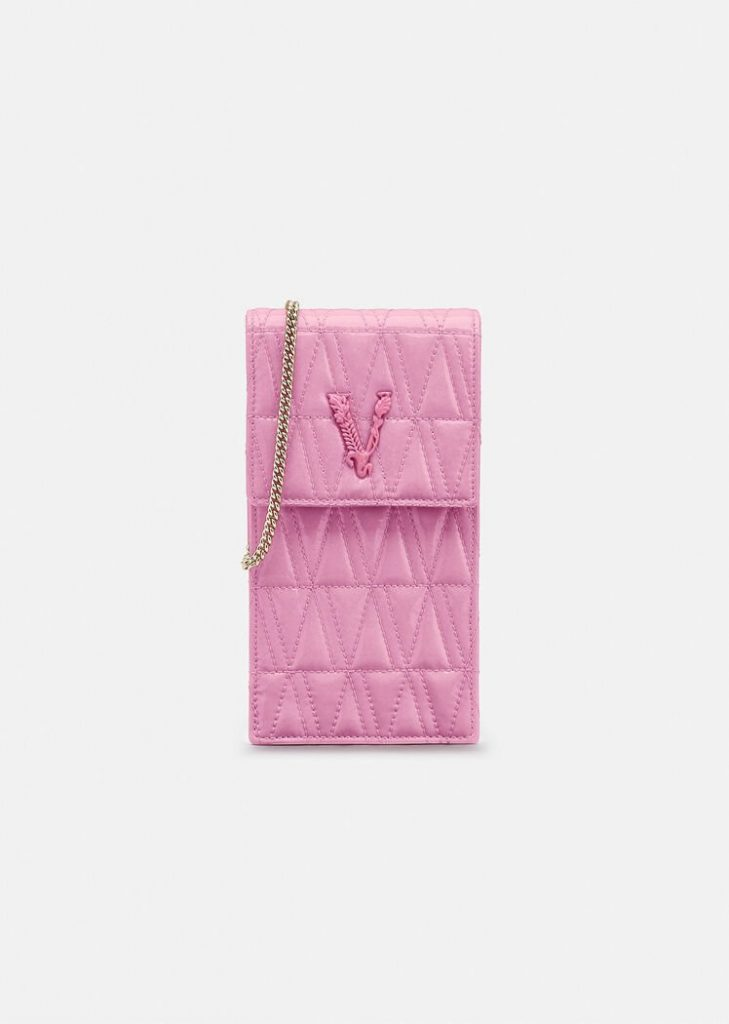 PINK VIRTUS QUILTED NAPLAK PHONE POUCH WITH GOLD CHAIN from VERSACE