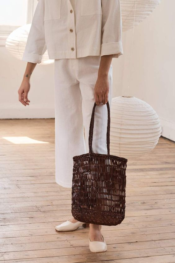 BROWN AND STRAW BAG  from PINTEREST