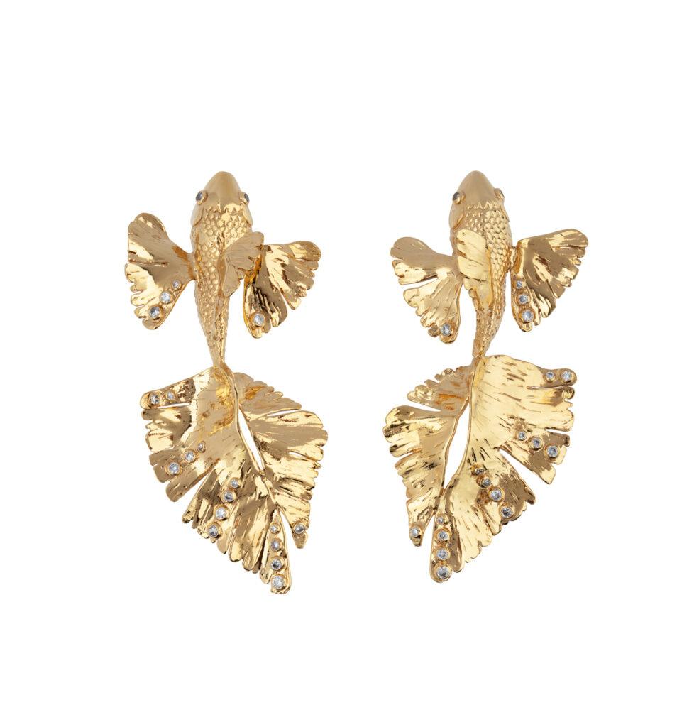 CARP EARRINGS (GOLD-PLATED BRASS AND ZIRCONS) from CAROLINA CURADO