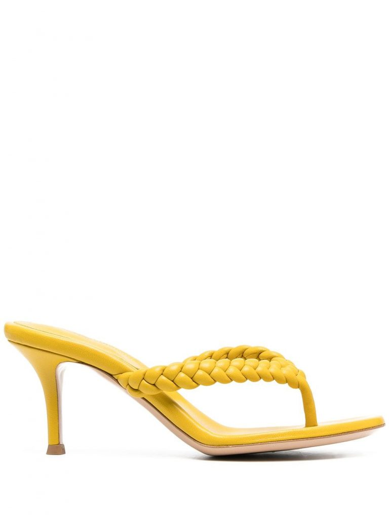 WOVEN-STRAP YELLHOW THONG SANDALS from Gianvito Rossi