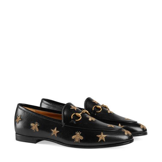 GUCCI JORDAAN EMBROIDERED LEATHER MOCASSIN from GUCCI