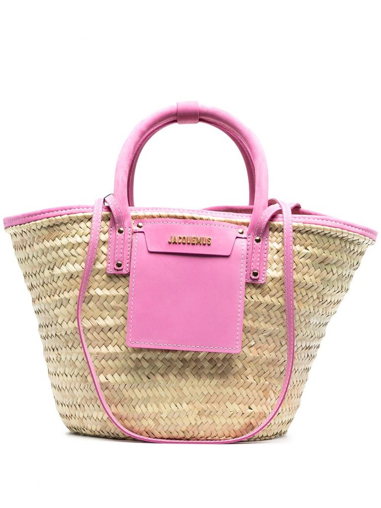 STRAW BAG WITH PINK LEATHER DETAILS AND GOLD-TONE LOGO PLAQUE from JACQUEMUS