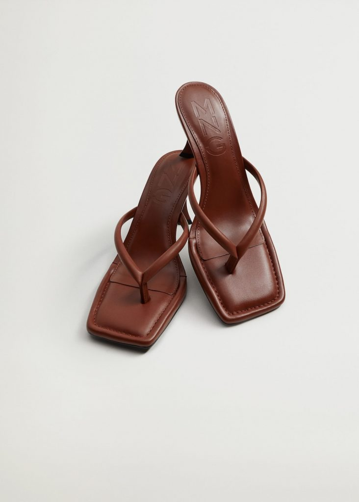 THONG HEEL LEATHER SANDALS  from MANGO