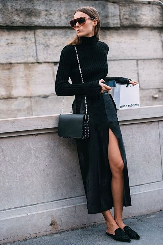BLACK MULES WITH MAXI SKIRT from PINTEREST
