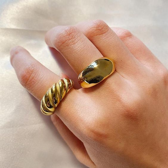 TWO GOLDEN CHUNKY RINGS from PINTEREST