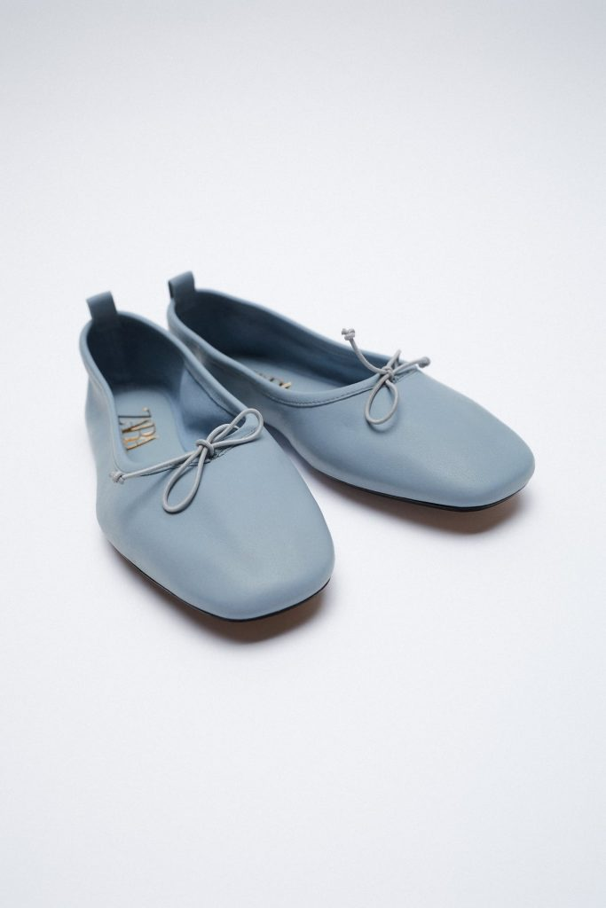 BLUE BALLET LEATHER FLATS  from ZARA