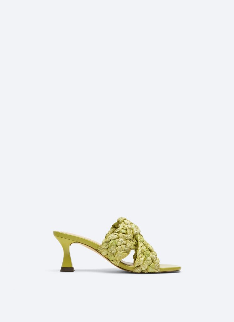 BRAIDED AND GREEN RAFIA SANDAL from UTERQUE