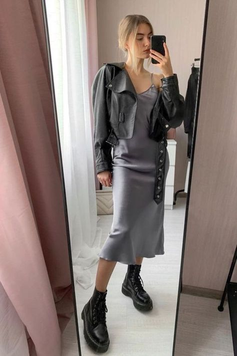 SATTIN DRESS WITH COBAT BOOTS from PINTEREST