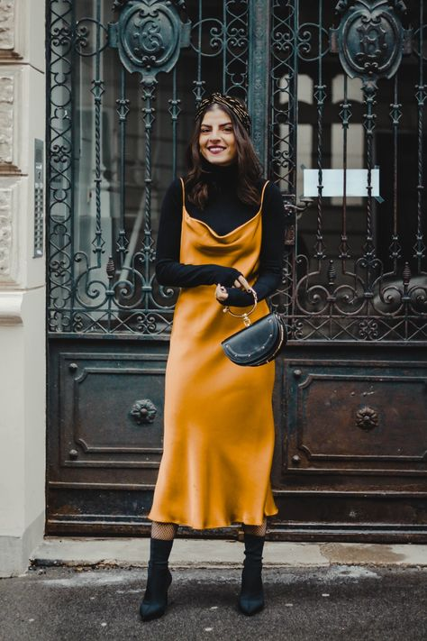 SATIN DRESS WITH CLASSIC BOOTS from PINTEREST