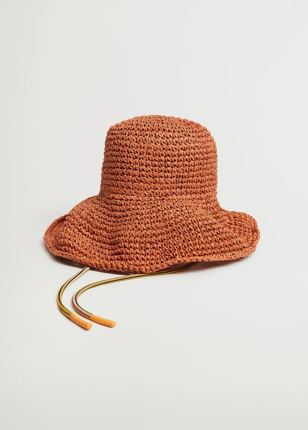 ORANGE CROCHET STRAW HAT  from MANGO