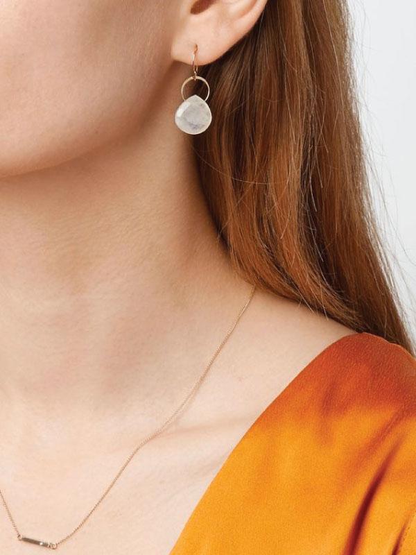 Sustainable Jewellery That Will Make Life Sparkle. Melissa Joy Manning, Moonstone Single Drop Earrings.