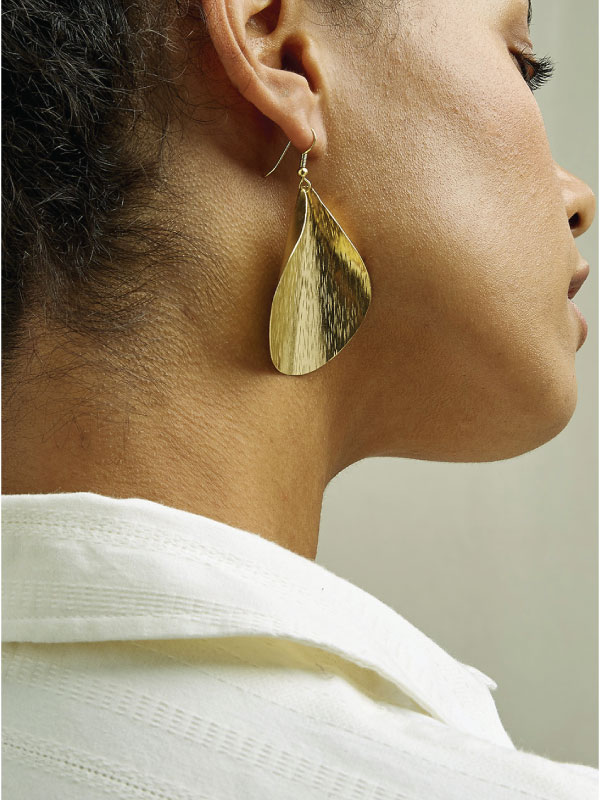 Sustainable Jewellery That Will Make Life Sparkle. People Tree, Curled Leaf Earrings.