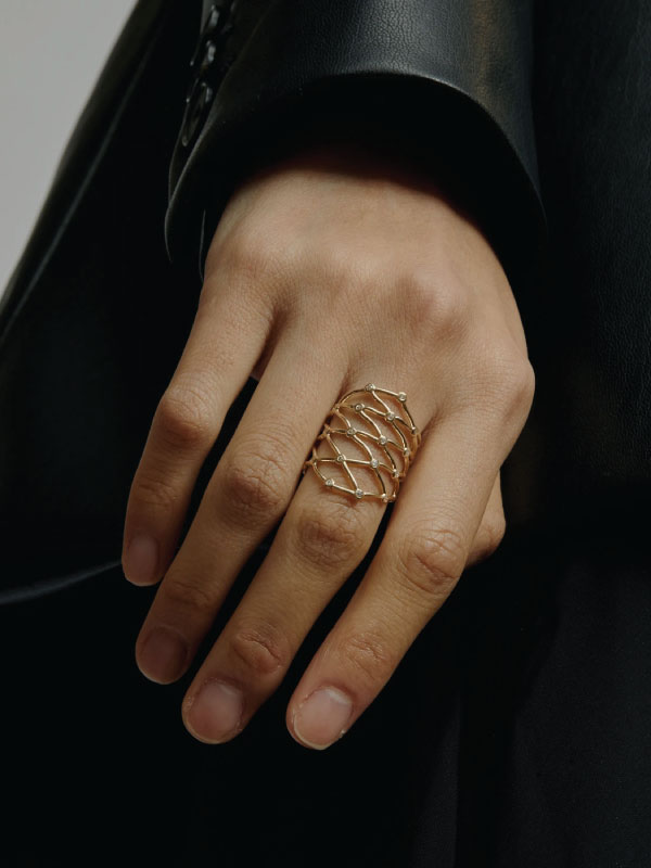 Sustainable Jewellery That Will Make Life Sparkle. Sarah & Sebastian, large net diamond ring.