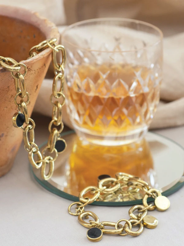 Sustainable Jewellery That Will Make Life Sparkle. Yala Jewellery, Asembo Gold Plated Brass Chain Charm Bracelet.