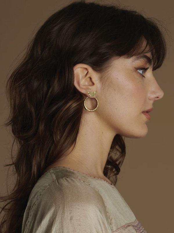 Sustainable Jewellery That Will Make Life Sparkle. Yala Jewellery, Tiwi 3-Way Brass Hoop Earrings.