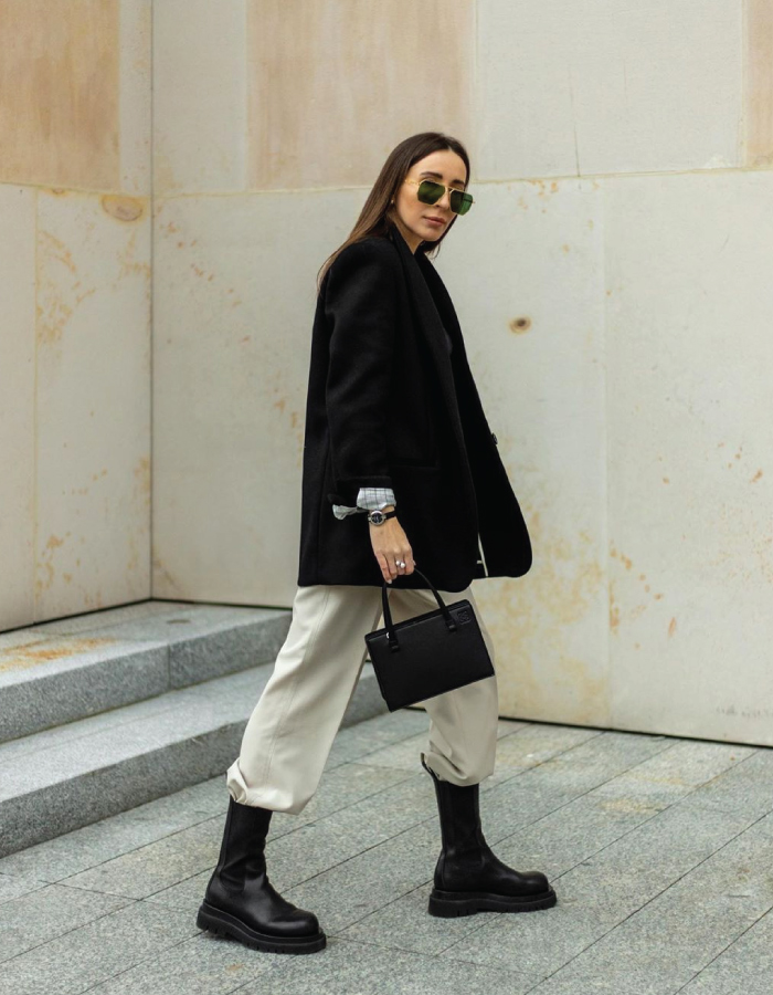 The Shoe Trends That Will Take Over This Fall. Black Chelsea Boots over beige pants.