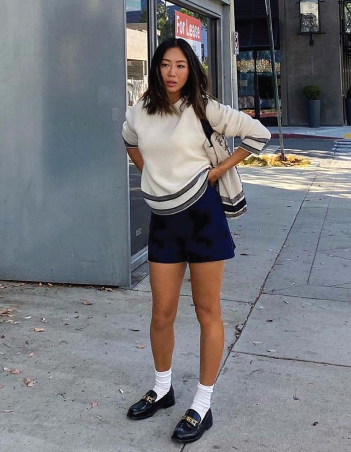 The Shoe Trends That Will Take Over This Fall. Chunky loafers and mini skirt.