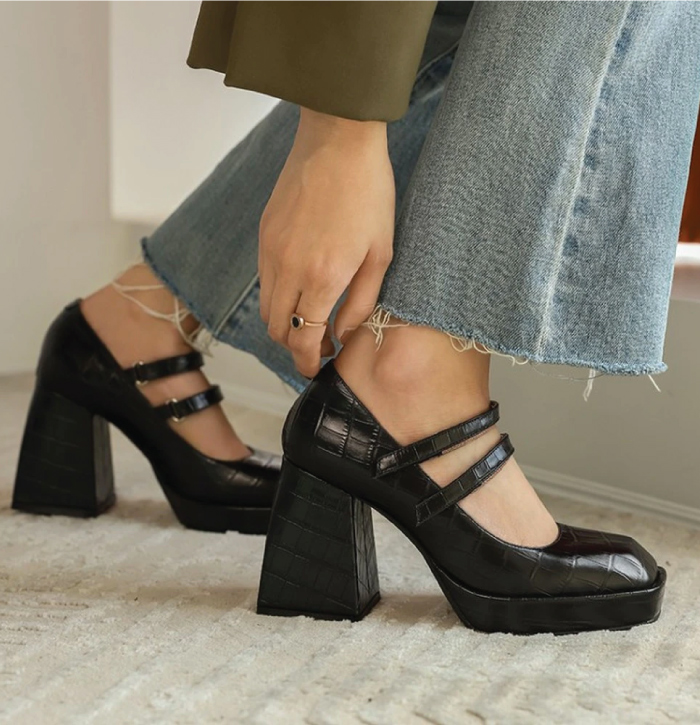 The Shoe Trends That Will Take Over This Fall. Mary Janes with wide-leg jeans.