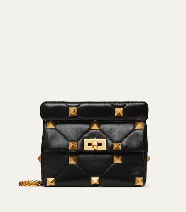 The Designer Bags Of 2021. Valentino Medium Roman Stud Shoulder Bag Black