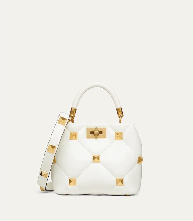 The Designer Bags Of 2021. Valentino Small Roman Stud Handle Bag White
