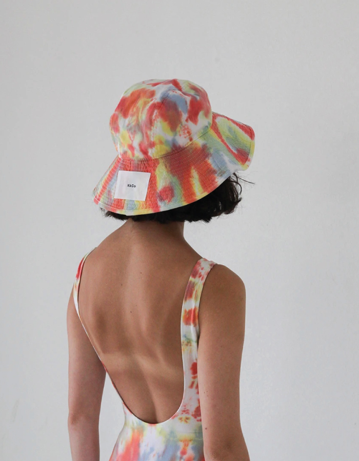 Bucket Hats You Will Want To Wear All Summer. Tie-dye hat from sustainable brand KkCo.