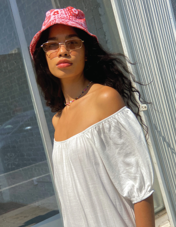 Bucket Hats You Will Want To Wear All Summer. '60s inspired hat from sustainable brand Lisa Says Gah.