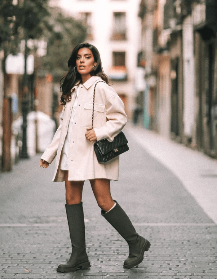 Autumn Boot Trends We Are Trying This Year: all-terrain high knee boots in green.