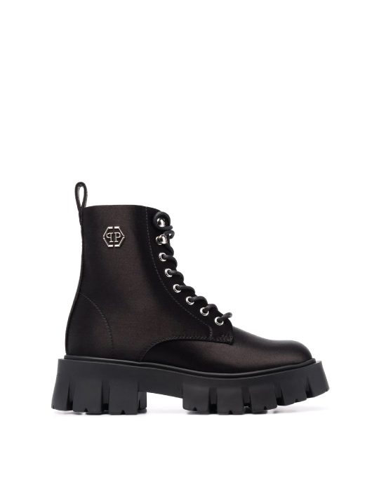 Autumn Boot Trends We Are Trying This Year: Philipp Plein, iconic satin chunky boots.