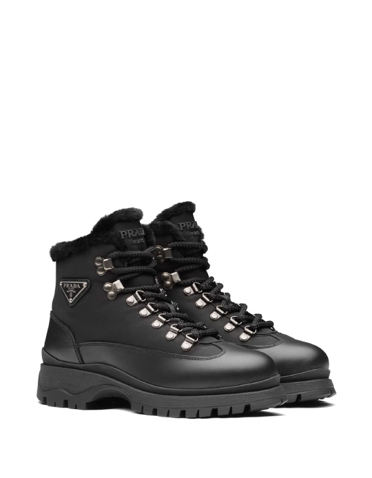 Autumn Boot Trends We Are Trying This Year: Prada, shearling-trim leather ankle boots.