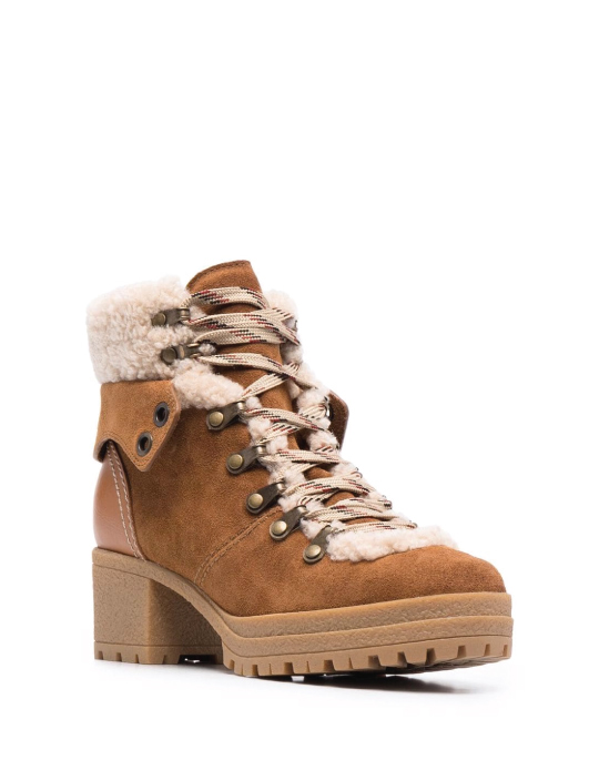 Autumn Boot Trends We Are Trying This Year: See by Chloé, shearling-trim lace-up boots.